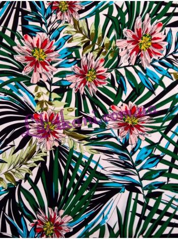 Штапель с принтом пальмовые листья и цветы
