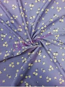 Штапель голубой в белые цветы